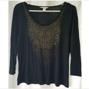 Laura Ashley petite large black 3/4 sleeve top